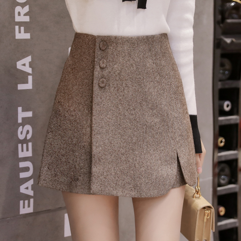 2019 New Fashion Single-breasted High Waist Shorts Skirts Womens Autumn Winter Wool Shorts Female Casual Woolen Culottes