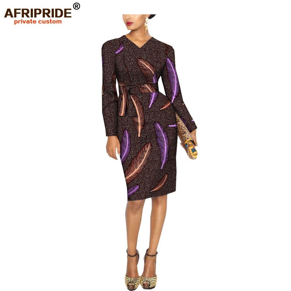 2018 printemps africain décontracté femmes robe AFRIPRIDE manches longues genou longueur midi batik coton robe pour les femmes avec ceintures A1825047