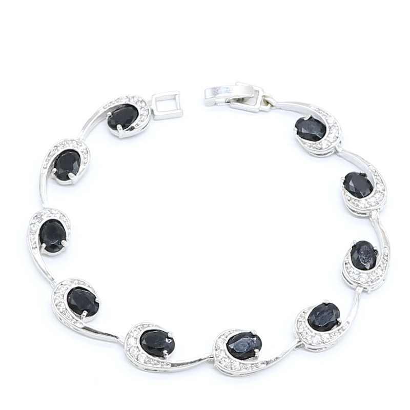 גיאומטרי שחור פנינת כסף צבע תכשיטי סטים לנשים עגילי טבעות שרשרת תליון זירקון צמיד