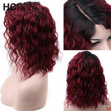 OT30 Ombre Color Short Curly Lace Front Human Hair Wig 6inch Deep Part