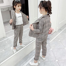 Teenage Girls Outfits 2020 Spring Kids Suit for Girls Clothing Sets School Plaid Jackets Pants Suit 10 12 Year Children Clothes(China)