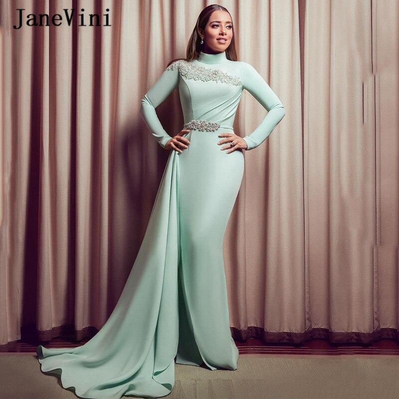 JaneVini 2020 Gorgeous Muslim Mermaid Long Sleeves Evening Dresses High Neck Rhinestone Floor Length African Women Party Dress