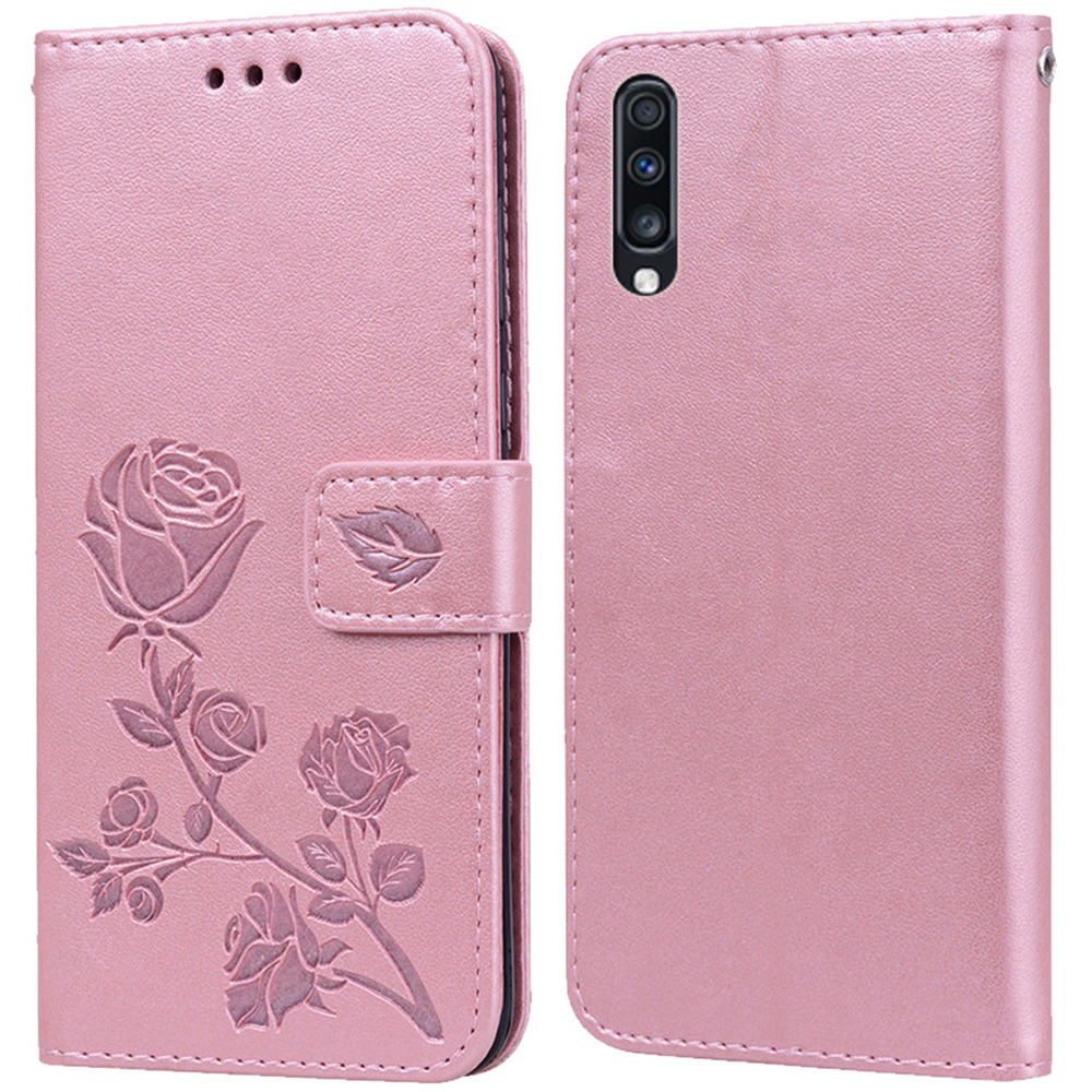 Luxury Leather Flip Book style Case for Samsung Galaxy A70 A7 2019 A70S Rose Flower Wallet Stand Card Holder Case Phone Cover image