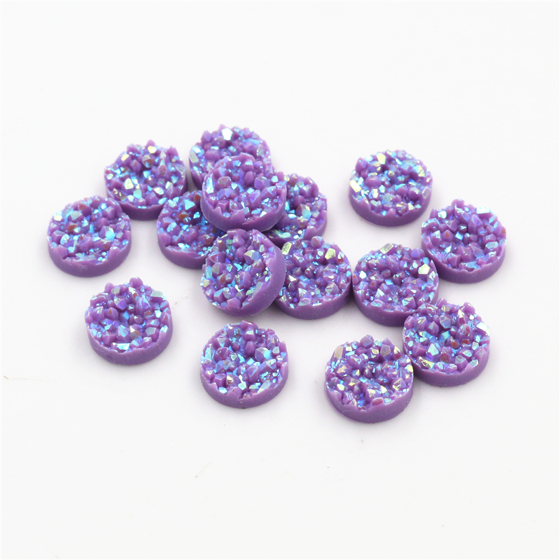 New Fashion 8mm 10mm 40pcs Dark Purple AB Colors Natural Ore Style Flat Back Resin Cabochons For Bracelet Earrings Accessories