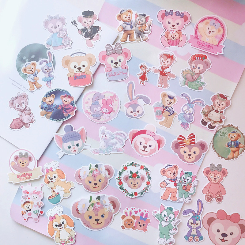 36pcs/pack Lovely Japan Cartoon Duffy Friends Stellalou Rabbit  Stickers Mobile Phone DIY Stickers Computer Decor
