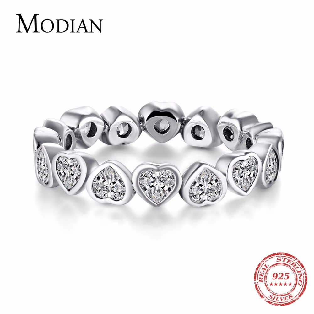 Modian Fashion Classic Cubic Zirconia Jewelry Real 925 sterling silver Love Hearts Ring Eternity Simulated Ring Bands Jewelry