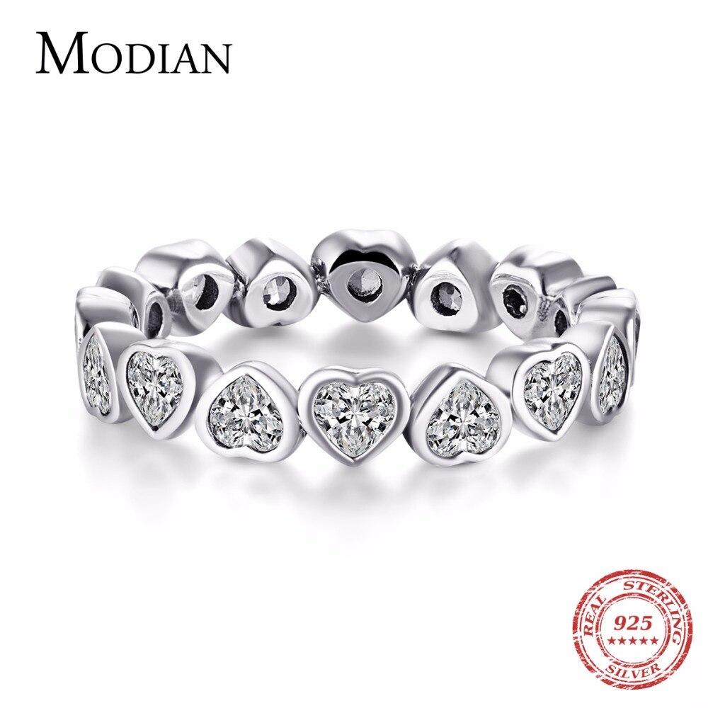 Modian Moda Clássico Cubic Zirconia Jóias Real 925 sterling silver Love Hearts Anel Eternity Simulado Anel Bandas Jóias