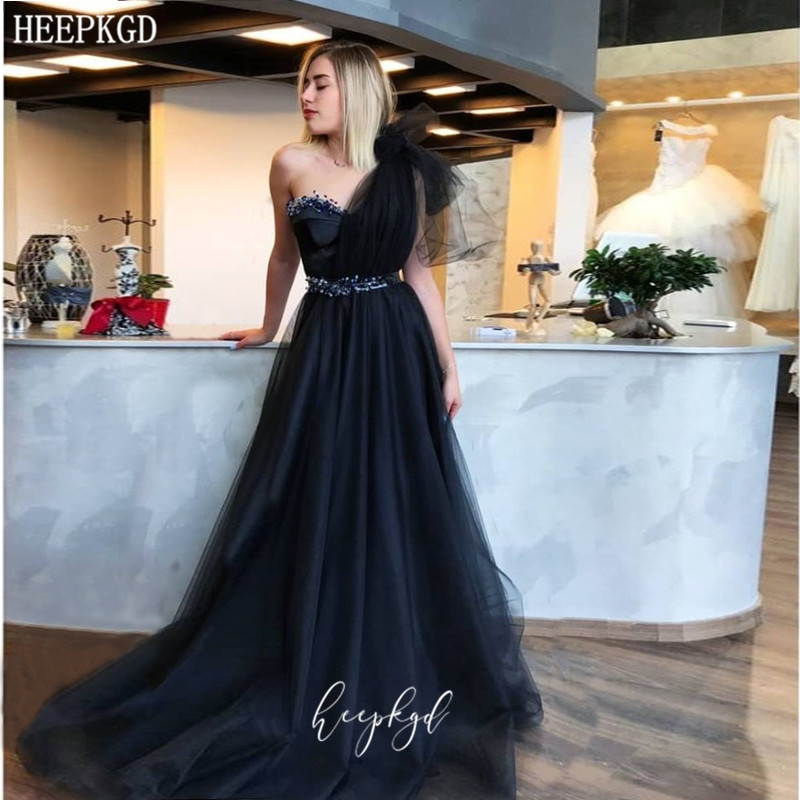 One Shoulder Black Long Evening Formal Dress Exquisite Beaded Tulle Wedding Party Dresses Prom Gowns Robe De Soiree Abendkleider