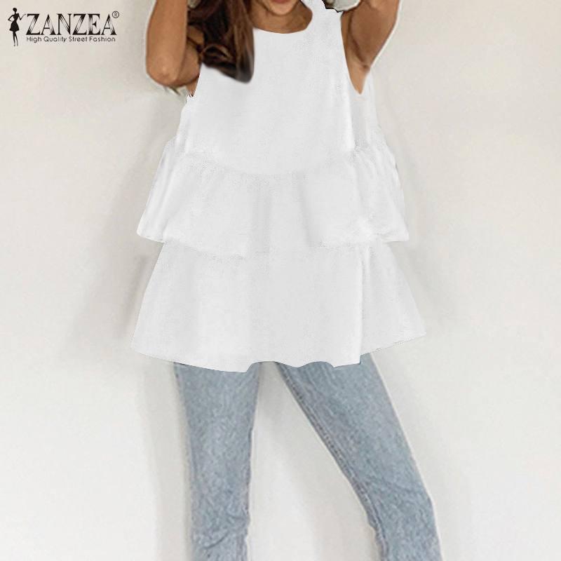 ZANZEA Womens Summer Solid Sleeveless Blouse Fashion Peplum Shirt Casual O Neck Ruffles Tanks Tops Female Work Blusas Chemise