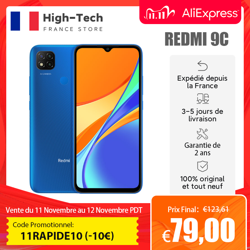"Global Version Xiaomi Redmi 9C Smartphone 2GB 32GB/3GB 64GB 13MP Triple Camera 6.53"" Display MTK Helio G35 5000mAh Mobile Phone"