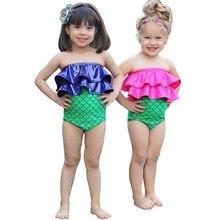 цены 0-3T Baby Girls Mermaid Ruffle Bikini Set Swimwear Little Girls Swimsuit Infant Bathing Suit Summer Beach Swimming Costume