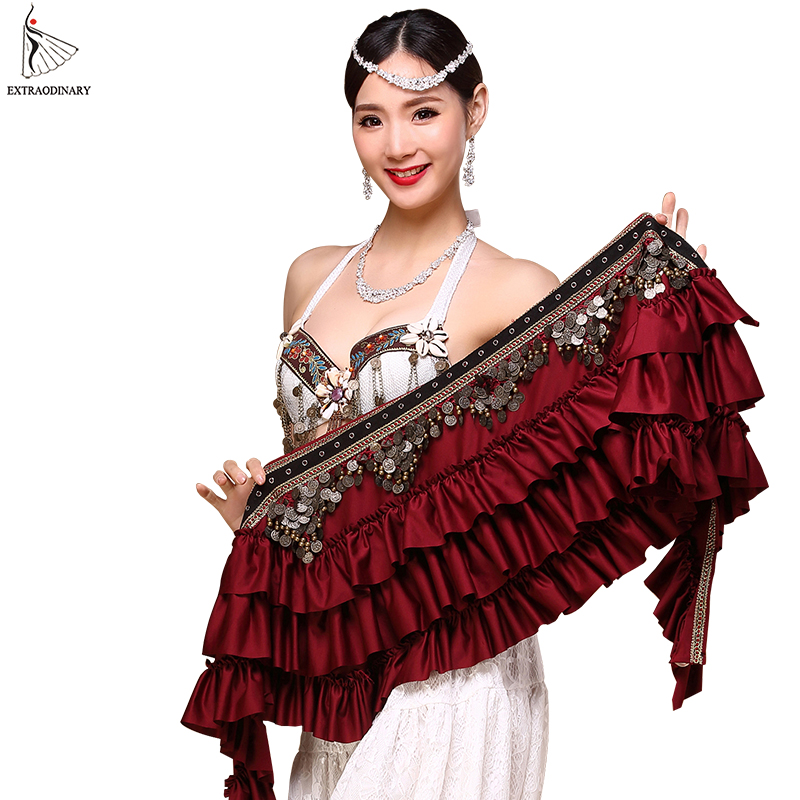 2018 New Women Belly Dance Hip Scarf Belly Belt Dancing Wrap Coins Bellydance Tribal Clothes Gypsy Costume Accessories 3 Color