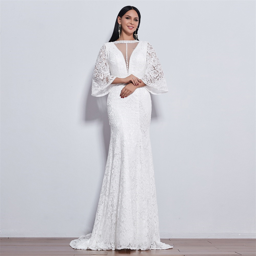 New Elegant Wedding Dress Mermaid With Long Sleeves Style Lace  For Wedding Vestido De Noiva Mermaid  Ivory / White Color