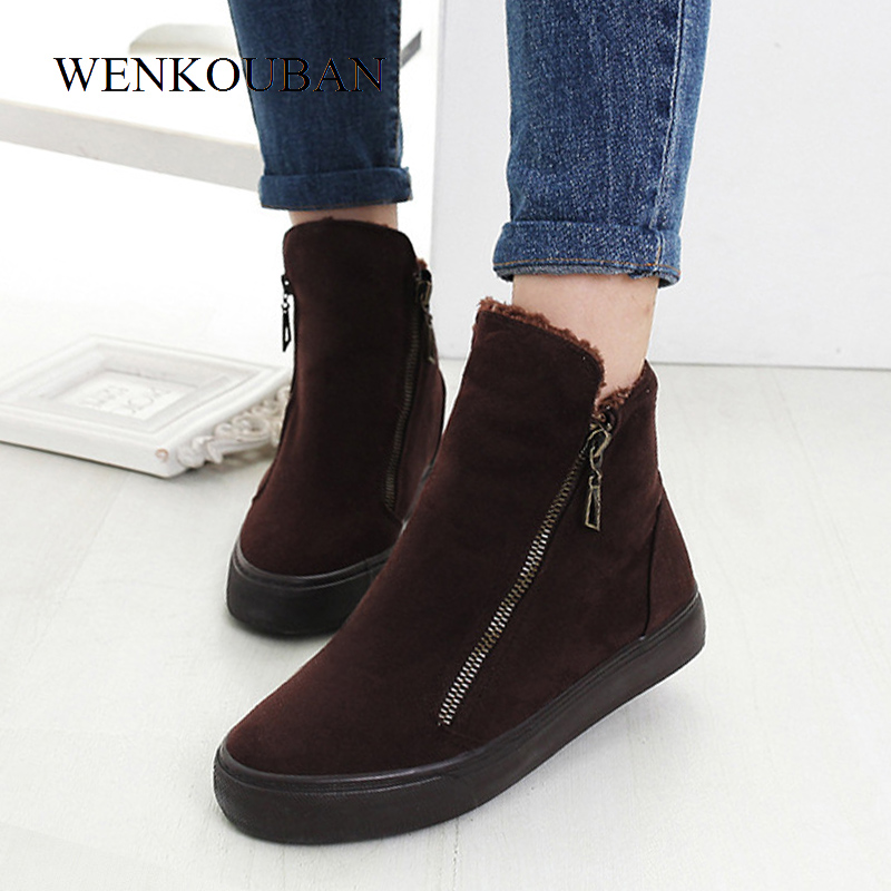 Image 4 - Fashion Winter Shoes Women Sneakers Boots Flock Warm Fur Snow Ankle Boots Women Double Zipper Antiskid Ladies Shoes Botas MujerAnkle Boots   -