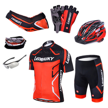 Купить с кэшбэком LEOBAIKY Brand Team Pro Cycling Jersey Shorts Set Padded Silicone Bike Clothes Men Summer Riding Cycle Clothing Mtb Bicycle Wear