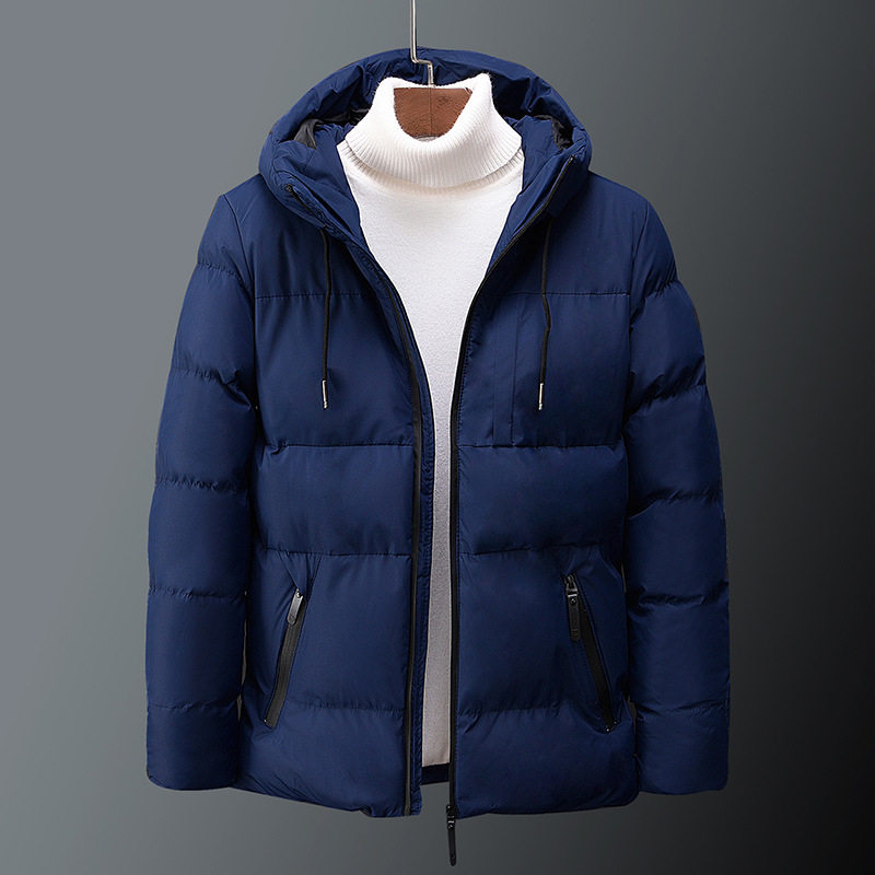 Jacket Coat Hooded Korean-Style Cotton-Padded Men's Winter Fashion Slim-Fit Man Thick title=