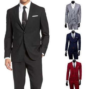 2020 Men 3 Pieces Classic Blazers Suit Sets Black Men Business Blazer +Vest +Pant Suits Sets Spring Autumn Plus size Wedding Set
