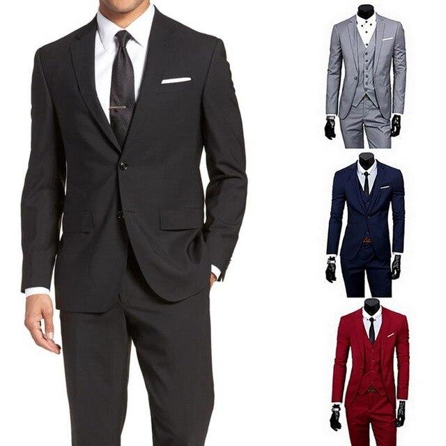 2020 Men 3 Pieces Classic  Suit Sets Black Men Business Blazer +Vest +Pant Suits Sets Spring Autumn Plus size Wedding Set