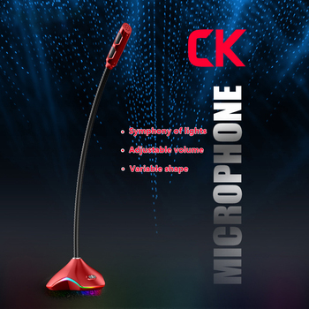 Elastyczny mikrofon pojemnościowy USB do komputera z oświetleniem Led do nagrywania mikrofonów komputerowych do gier tanie i dobre opinie centechia Blat Mikrofon komputerowy Pojedyncze Mikrofon CN (pochodzenie)