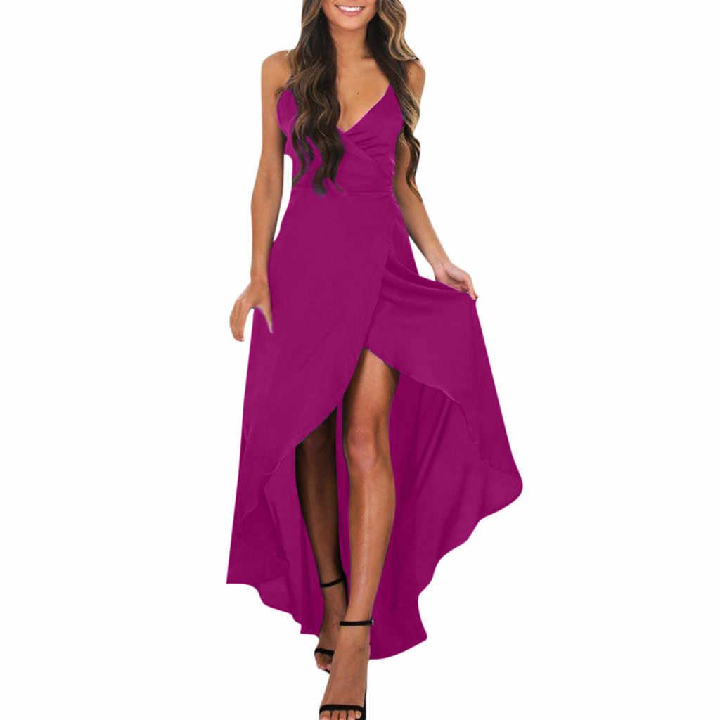 2019 produits chauds femmes v-cou Boho longue Maxi robe soirée fête plage soleil robe livraison directe remise livraison gratuite