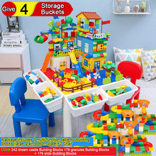 New Multi-function Table for Building Blocks Give 242 Dream Castle 4 Storage Buckets 178 Slide