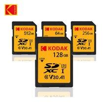Kodak – carte SD U3 V30 4K, 16 go/32 go/64 go/128 go/256 go/512 go, 80 mo/s, U1, 100 mo/s, pour reflex numérique Canon/Sony, compatible vidéo HD 4K
