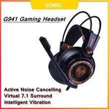 Somic G941 oyun kulaklık USB 7.1 sanal Surround ses oyun kulaklığı mikrofonlu kulaklıklar Stereo bas PC için titreşimli