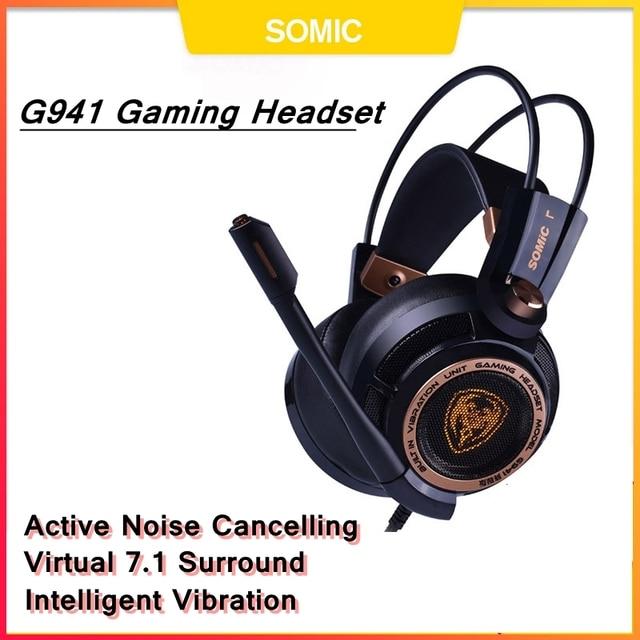 Somic g941 gamer fones de ouvido usb 7.1 surround virtual som gaming headset fones com microfone estéreo vibração graves para pc