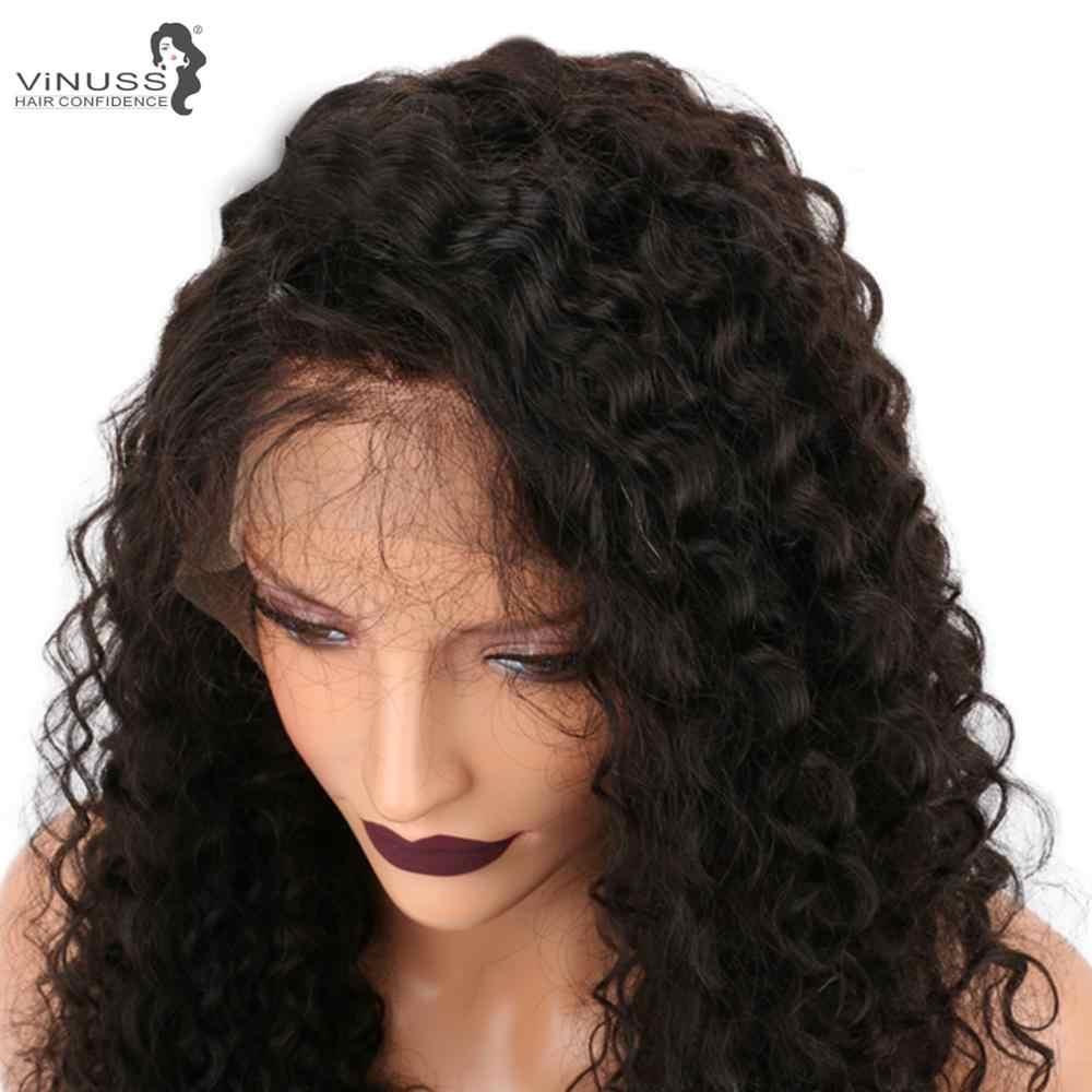 Vinuss 360 pelucas de cabello humano Frontal de encaje jerry rizado Pre desplumado cabello de bebé cabello humano brasileño Remy para mujeres negras
