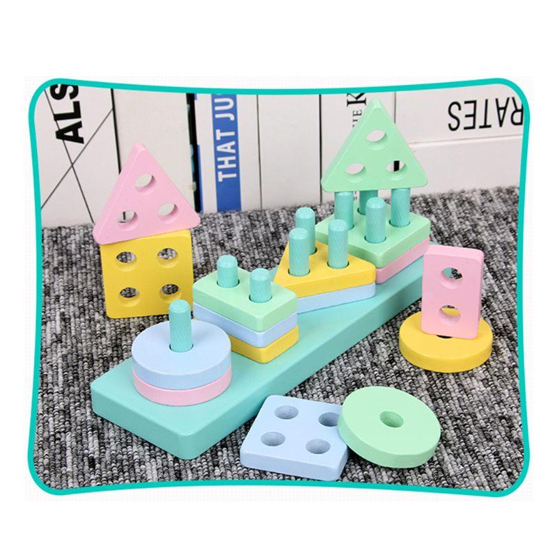 Childrens Toddler Game Wooden Geometric Stacker Shape Sorter Column Puzzle