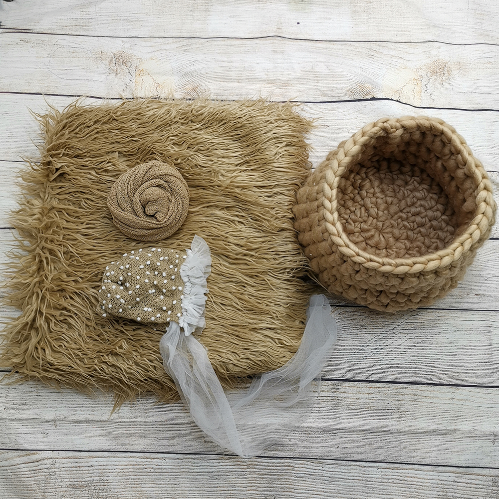 Faux Fur 150*100cm  Blanket Backdrop+Knit Basket+140*30cm Stretch Knit Wrap+ Baby Girl Hats Newborn Photography Props