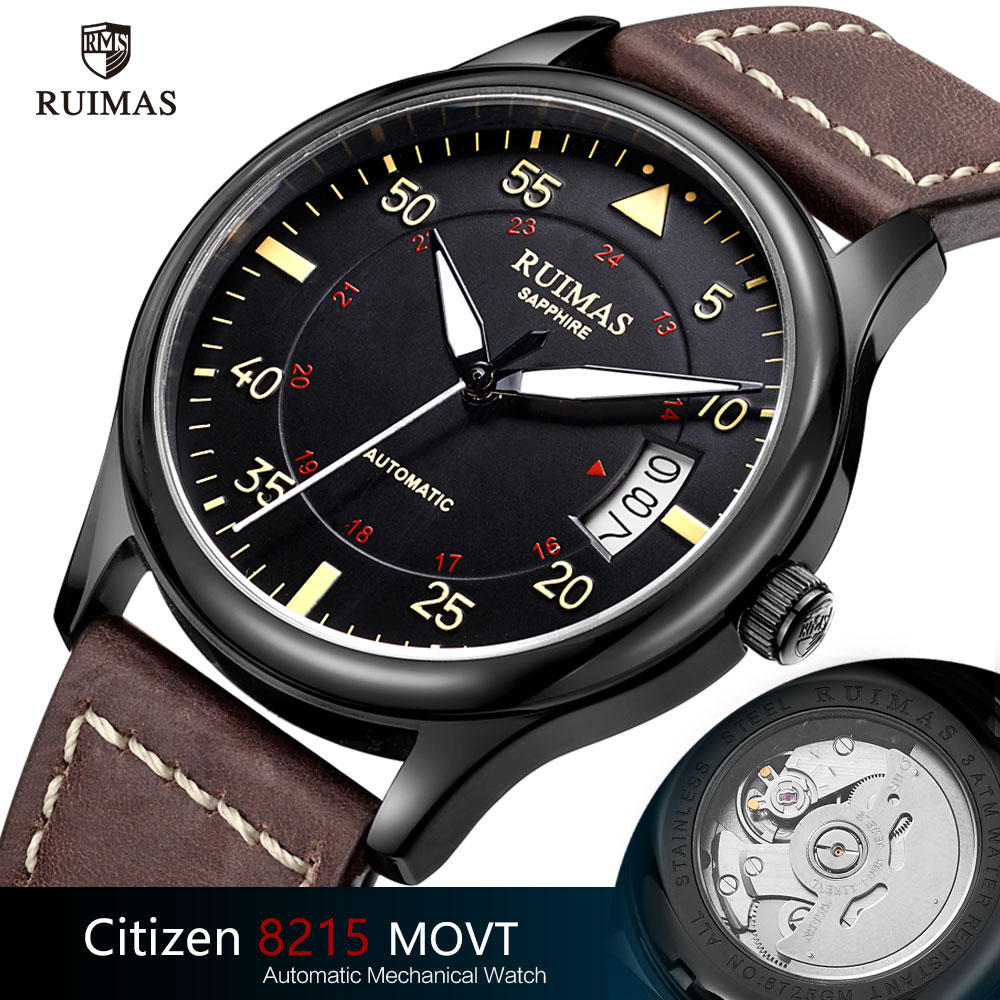 Ruimas Automatic Mechanical Watch Man Luxury Classic Business Citizen Top Brand Luminous Male Clocks Retro Wristwatch Relogio