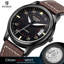 Ruimas التلقائي الميكانيكية ساعة رجل فاخر كلاسيكي الأعمال المواطن العلامة التجارية مضيئة الذكور الساعات الرجعية ساعة اليد Relogio