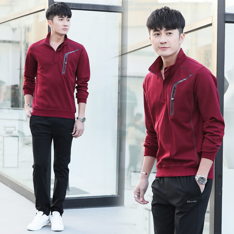 Spring And Autumn Men's Wear Sports Set Long Sleeve Casual Sports Clothing Korean-style Hoodie Trousers Men's Coat
