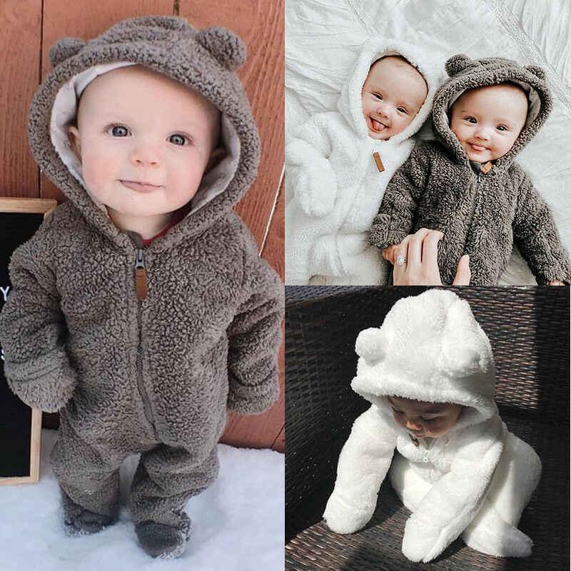 Newborn Kids Boys Girls Winter Hoodie Bodysuit Bear Romper Jumpsuit Xmas Outfits