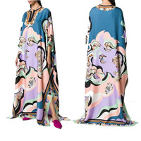 VKBN 2020 News Fashion Women Long Dress Three Quarter V Neck Geometric Pattern Printing Maxi Dresses for Women