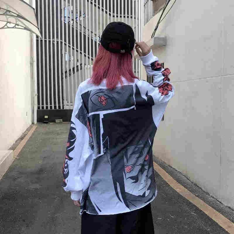 Anime tops Hip Hop harajuku T Shirt Uzumaki Sasuke Uchiha T-shirt rahat Vintage TShirt karikatür baskılı artı boyutu uzun kollu
