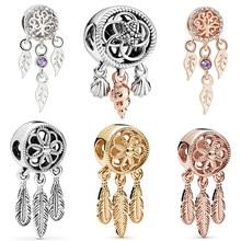 Pandora encantos pulseira pulseira de folha de pena estrela do mar concha dreamcatcher pingente para as mulheres