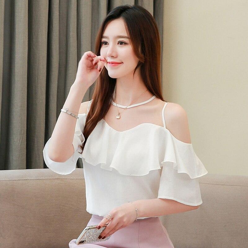 Купить корейские модные шифоновые блузки для женщин с рюшами рубашки