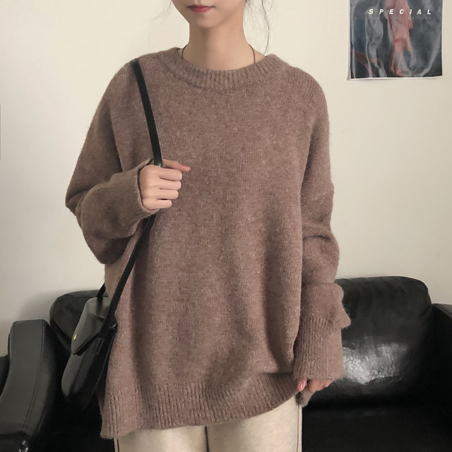 Ailegogo New Women Classic Knitted Pullovers Casual Female Sweater Loose Fit Outwear Retro Fashion Knitwear Ladies Outwear 3