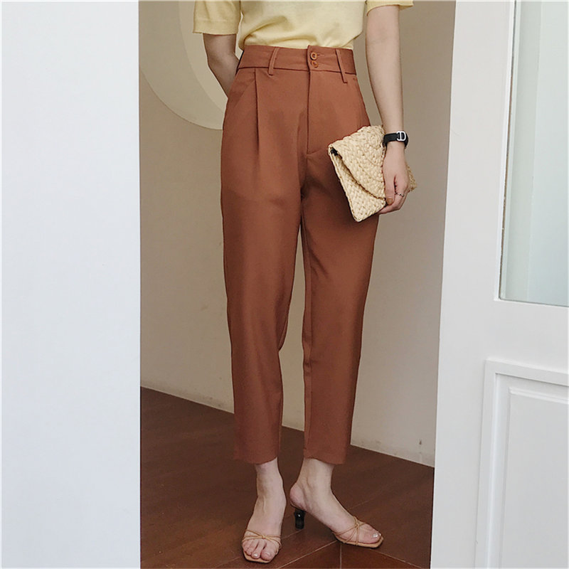 HziriP All Match Fashion Chic 2020 Summer OL Slim Ankle-Length Pants High Waist Loose Solid Women Casual Straight Trousers