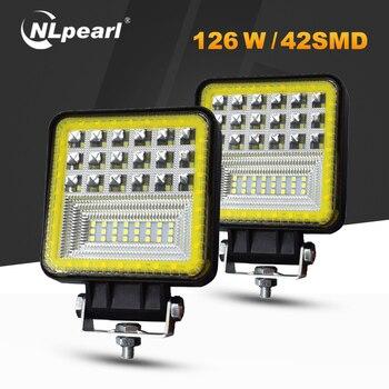 цена на Nlpearl 2x Car Light Assembly Led Fog Lights for Trucks 3000K 6000K 72W 126W LED Work Light Bar For 4x4 Offroad ATV UTV Tractor