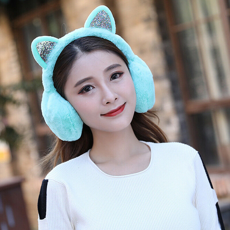 Girl Winter Cat Ear Earmuffs Fur Warm Women Ear Protect Cute Faux Soft Fluffy Ladies Earcap