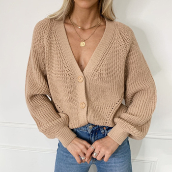 Women Solid Knitwear 2020 Autumn Winter Casual Long Sleeve V-neck Knitted Cardigan Lantern Sleeve Single-breasted Sweater Tops solid guipure lace lantern sleeve sweater long sleeve sweater women top