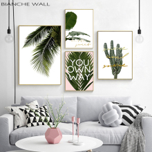 Green Leaf Cactus Canvas Painting Poster Nordic Wall Art Botanical Print Quotes Picture for Living Room Decor