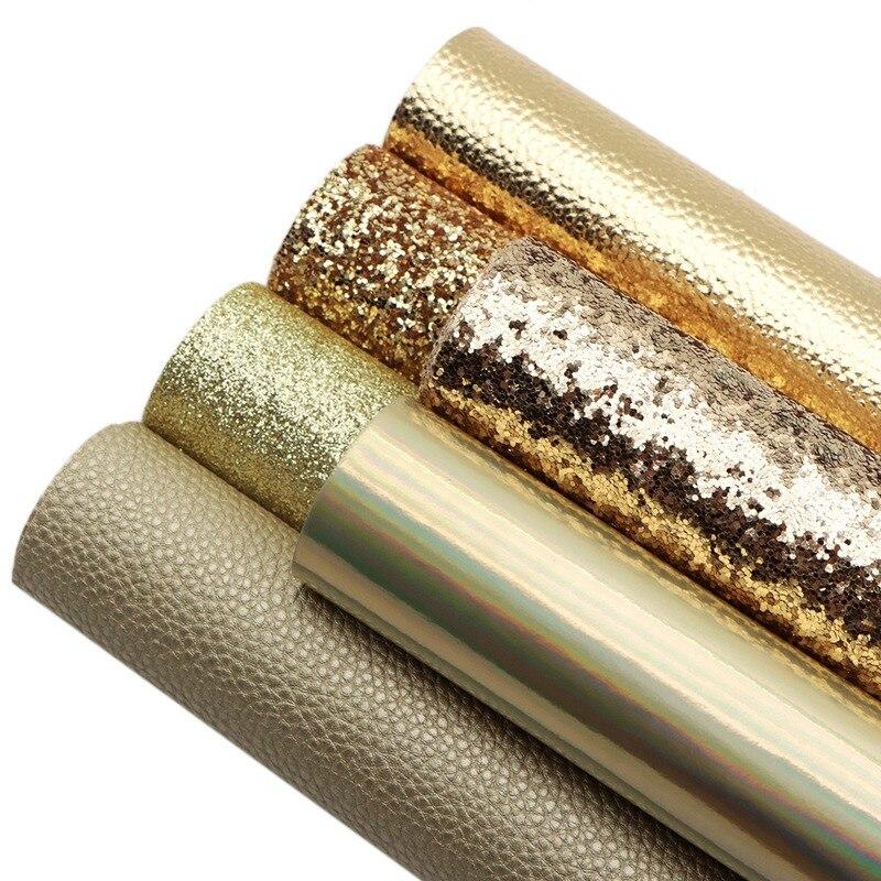 Золотая ткань из искусственной кожи Толстая мягкая хлопковая гладкая искусственная кожа листы из искусственной кожи Размер A4 ткань для рук...