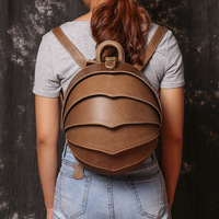 New ladies leather backpack trendy fashion male beetle personalized backpack cowhide messenger bag