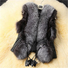 Clobee Gilet Female 2020 Black Faux Fur Vest Warm Winter Fur Jacket Coats for Women Colete Feminino Female Waistcoat Fur Vest(China)