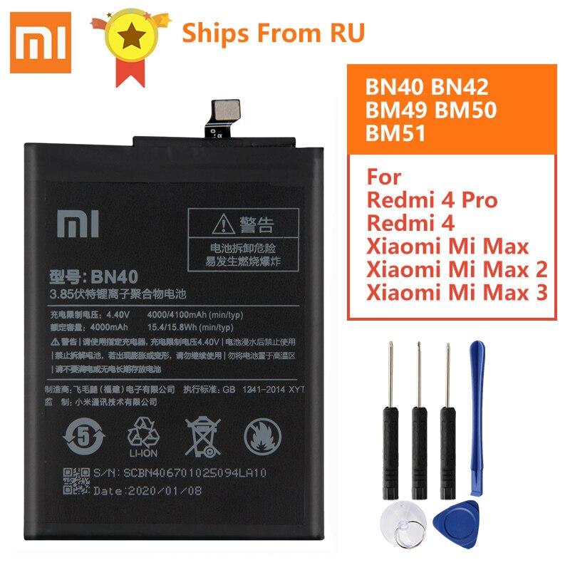 Аккумулятор BN40 BN42 BM49 BM50 BM51 для Xiaomi, батарея BN40 BN42 BM49 BM50 BM51 For Xiaomi Redmi 4 Pro Prime 3 Гб ОЗУ, 32 Гб ПЗУ, Redmi4 Mi Max Max2 Max3, оригинал|Аккумуляторы для мобильных телефонов|   | АлиЭкспресс