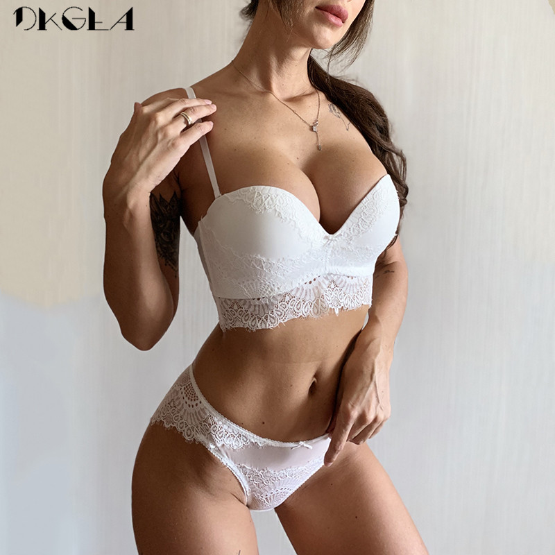 New Non-slip Half Cup   Bra     Set   White Embroidery Women Lingerie   Set   A B C Cup Brassiere Thick Cotton   Bra   Sexy Underwear   Set   Lace